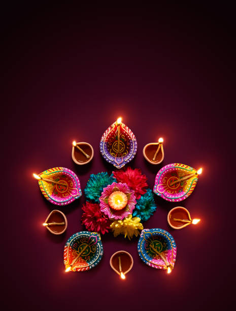 Colorful+diya+lamps+lit+during+diwali+celebration
